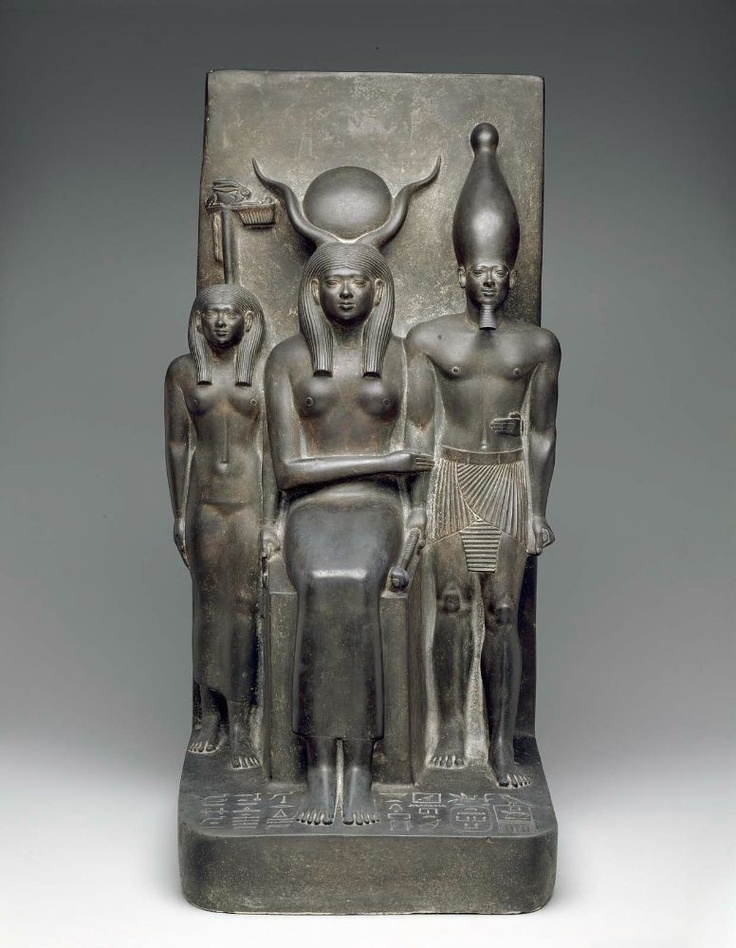 King Menkaura, the goddess Hathor, and the deified Hare nome  Egyptian, 2490–2472 B.C. Seen at the Boston Museum of Fine Art.