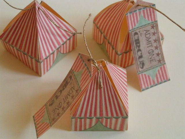SPECIAL OFFER 10 little circus tent gift boxes, by The Inklings of Tess on Folksy, £15.00