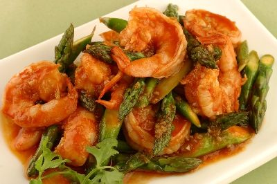Spicy Garlic Shrimp with Asparagus Recipe: One of my favorite recipes ...