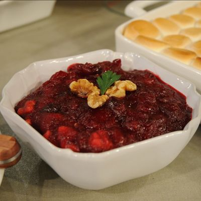 Orange-Walnut Cranberry Sauce. Delicious! I used 1/3 cup sugar instead ...