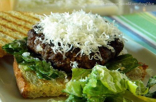 Caesar Salad Flank Steak Burgers on Garlic Sourdough Crostini