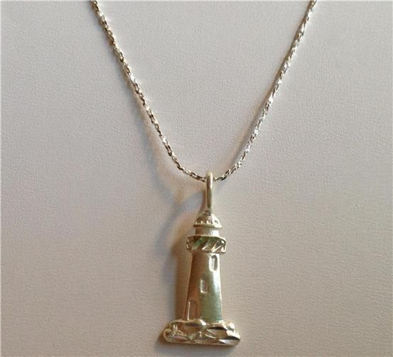 sterling silver lighthouse necklace pendant nautical