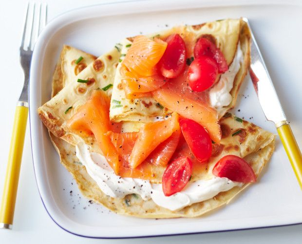 Chive Pancakes with Smoked Salmon Recipe | Breakfast, Lactose free ...