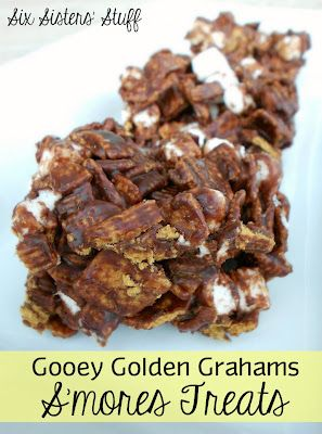 Gooey Golden Grahams S'mores Treats- no baking required! A quick and easy treat (perfect for an after-school snack)! SixSistersStuff.com #dessert #smores
