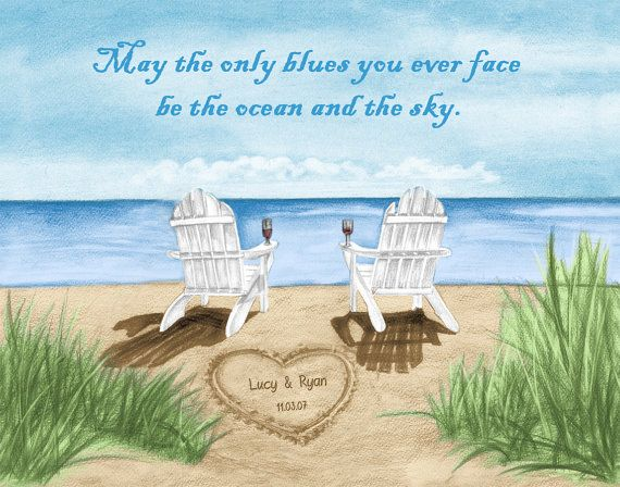 Ocean Beach Chair Fine Art Print With Personalized Names