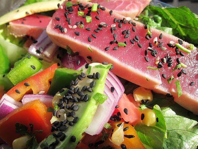 ... want 'fa dinnah' , Enough heavy winter food!!!! tuna steak salads