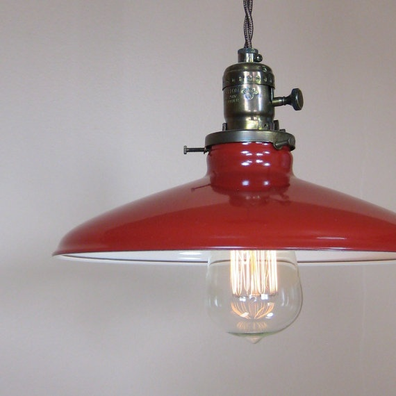 Red Metal Enamel Pendant Barn Light