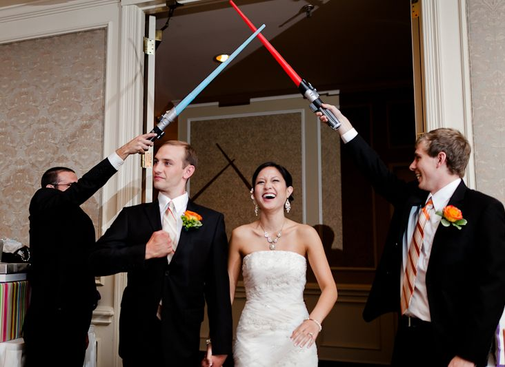 bride and groom grand entrance to wedding reception, star wars, lightsabers, #wedding #first #dance #ideas dallas wedding engagement photographer