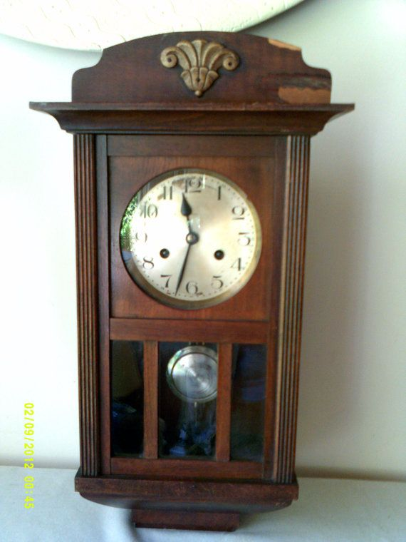 Antique 1900 1920 kienzle wooden eight day wall clock for Kienzle wall clock made in germany