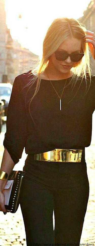 Love the gold belt with this all black on black outfit!!! Hello Smooth Laser Hair Removal Jacksonville FL