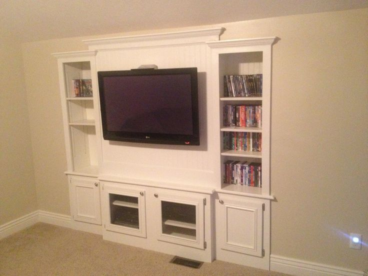 In Wall Entertainment Center Built Using Existing Studs