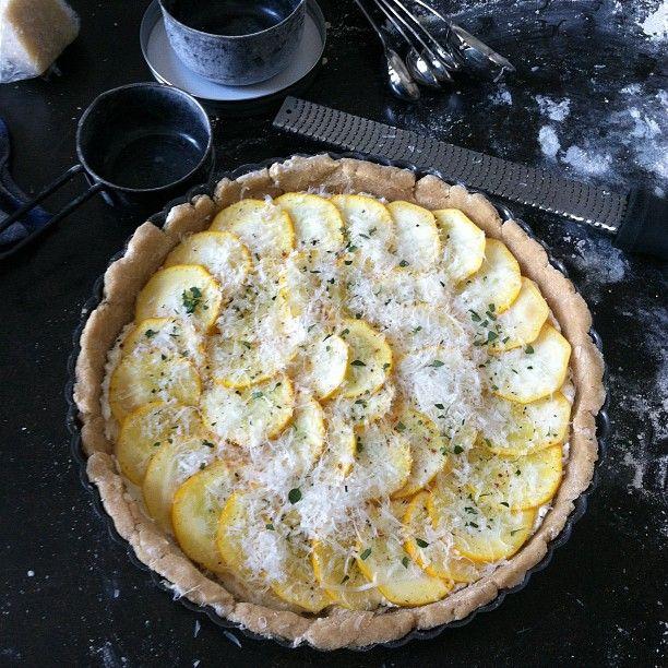 ... summer squash, ricotta and lemon-thyme tart...looks like some fresh
