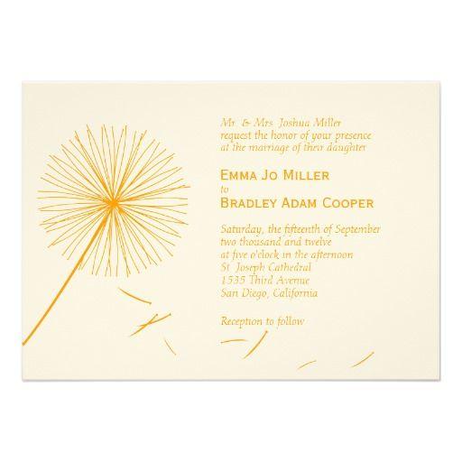 dreamy dandelion wedding invitation orange spice