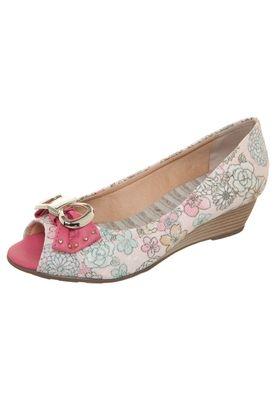 Peep Toe Rustico Floral Rosa