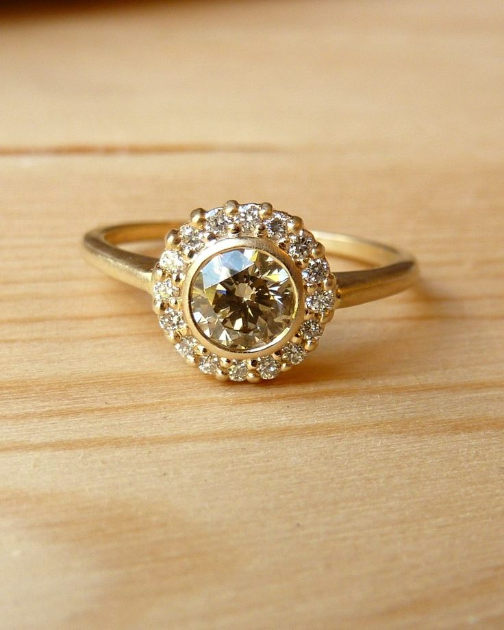 Bezel Set Champagne Diamond Ring