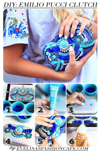 Emilio Pucci inspired DIY beaded clutch.  This is so beautiful, I must make one of these the next time I have a formal event.