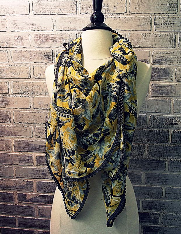 Yellow and grey feather print scarf by chapter37