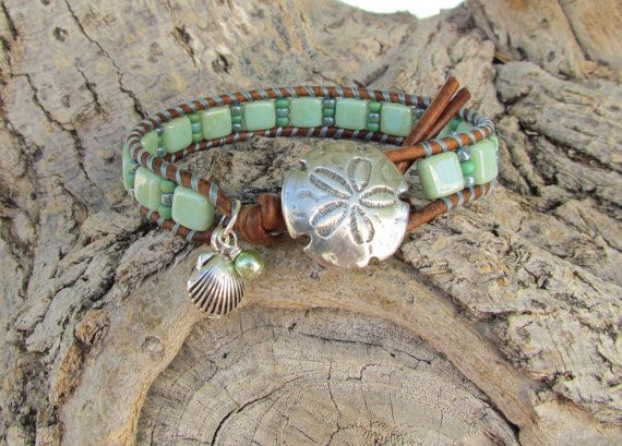 Key Lime tropical wrap, with CzechMates and Toho beads, silver shell ...