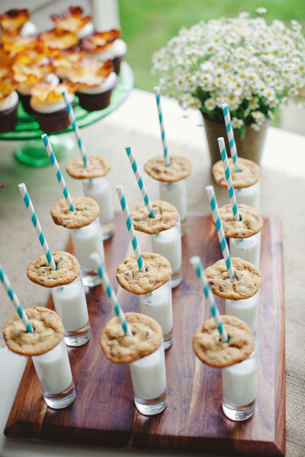 cookie and milk #weddingdesserts http://www.weddingchicks.com/2013/11/19/fabulously-funky-bridal-luncheon/