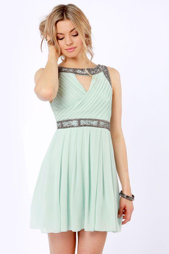tfnc bea mint green beaded dress