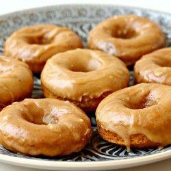 Baked Mini Buttermilk Pumpkin Doughnuts with Brown Butter-Maple Glaze