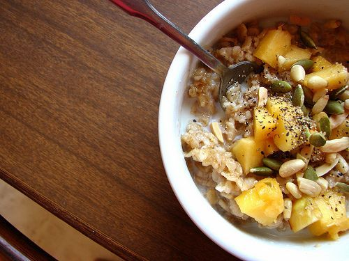Slow cooked oatmeal with peaches, brown sugar or maple syrup, toasted ...
