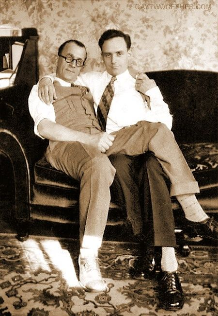 Two Men Relaxing On The Couch Vintage Male Friendship