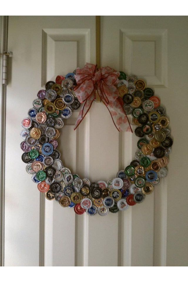 bottle cap wreath wreaths pinterest