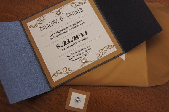 funny shirt Vintage Glamour  Metallic Wedding Invitation Set  CUSTOMIZED SAMPLE