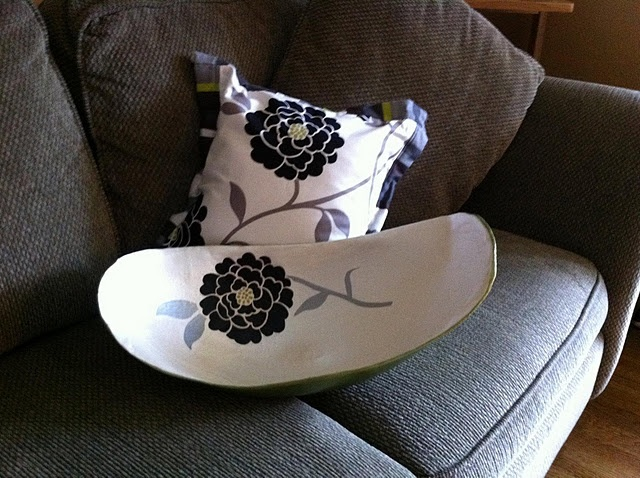 Belly bowl custom painted to match nursery bedding.