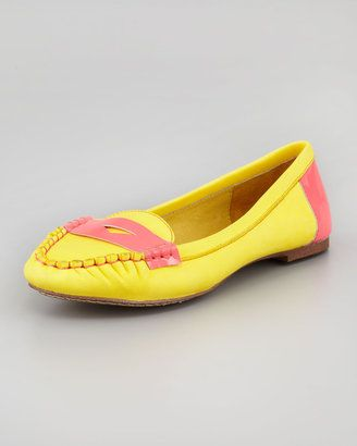 Jeffrey Campbell Neon Trim Leather Driver Yellow Pink Jeffrey Campbell