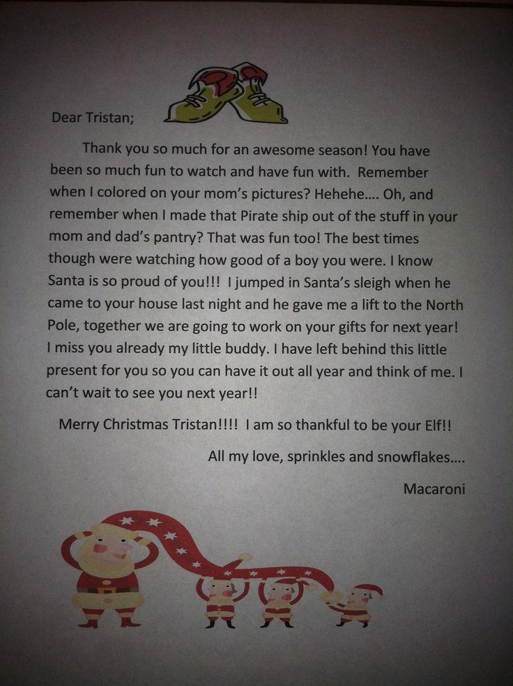 Elf on the shelf goodbye letter | Christmas | Pinterest