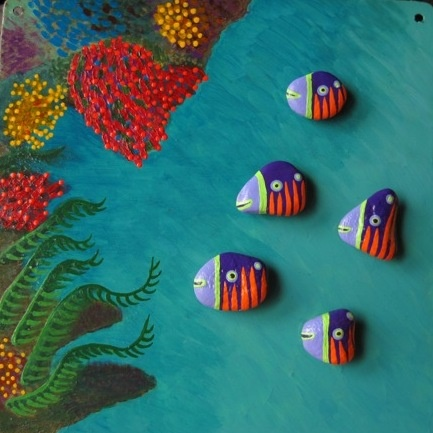 Coral Reef with Tigerstriped Violetfish by Mesekavics