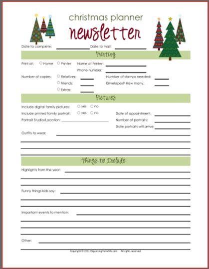 Christmas Newsletter Planning Printable | Christmas Photo/Card 2011 Iu2026
