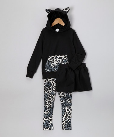 Take a look at this Black Leopard Hoodie Set - Infant & Toddler by