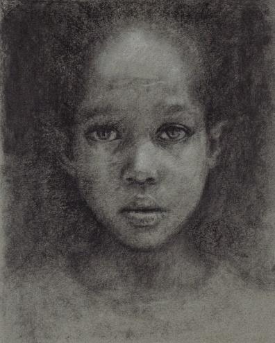 charcoal drawing, kid