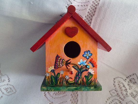 Wood Bird House Bird House Decor Wooden Bird House