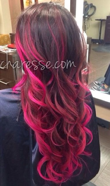 Dark brown hair with hot pink tips