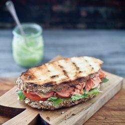Salmon Sandwiches with Pesto Avocado Spread & a Grilled Apricot ...