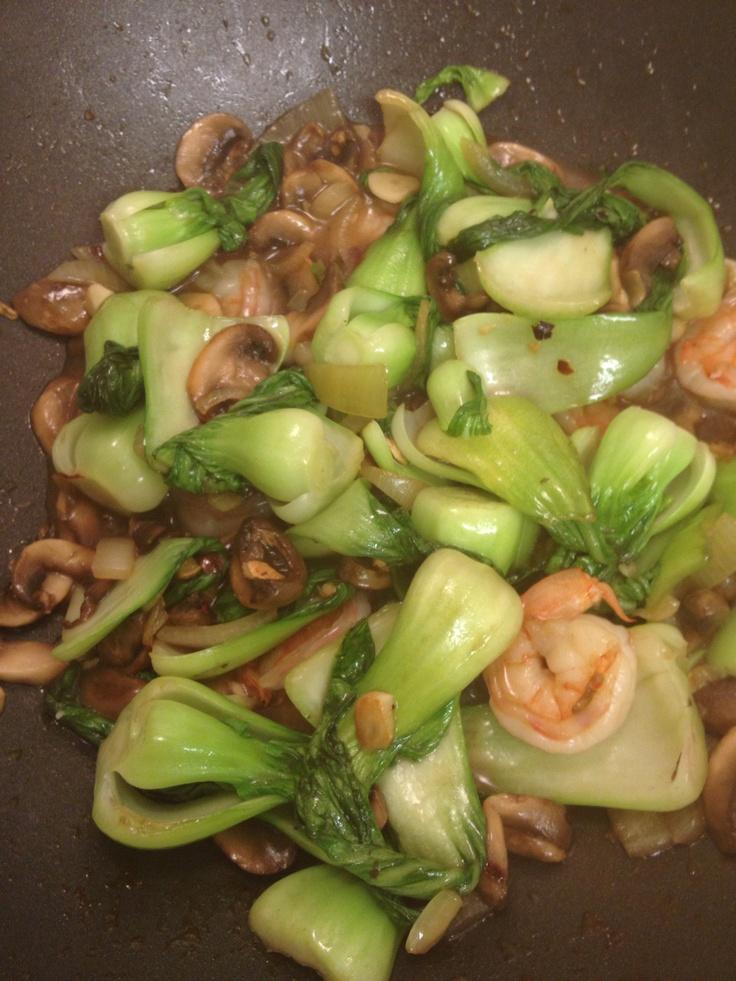 Mushroom, shrimp and baby bok choy stir-fry.