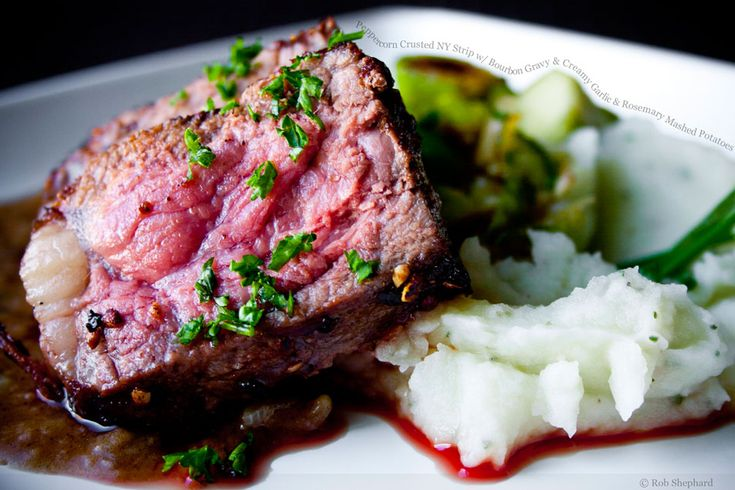 Peppercorn Crusted NY Strip with Bourbon Gravy and Creamy Garlic and ...