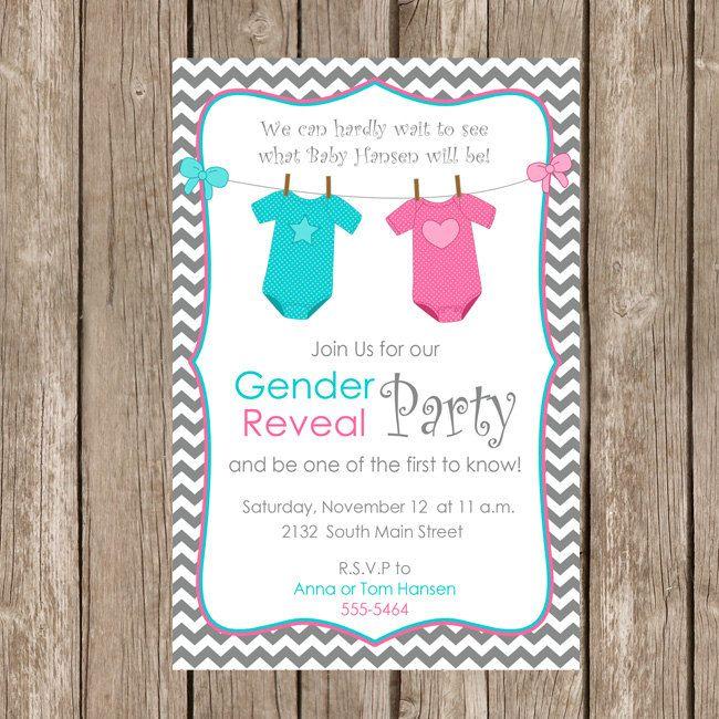 Gender Reveal Invitation Baby Reveal Invite Printable Personalized ge…