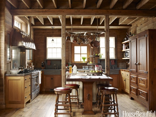 Barn kitchen. Design: Mick De Giulio. Photo: Ngoc Minh Ngo. housebeautiful.com. #kitchen #barn #barn_kitchen #pot_rack #reclaimed_wood