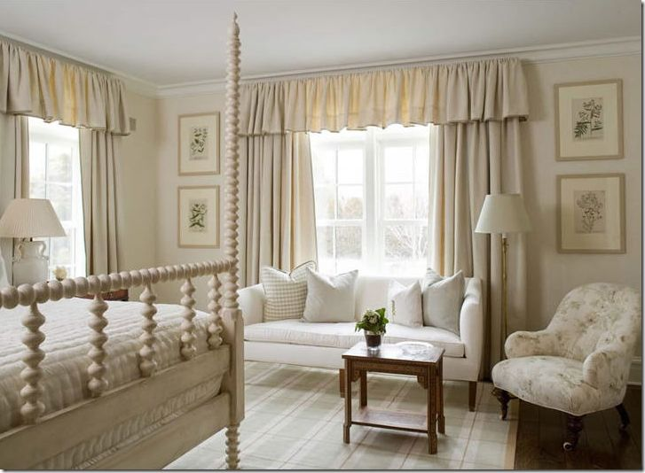 bedroom with ruffled valances designed by phoebe howard curtains