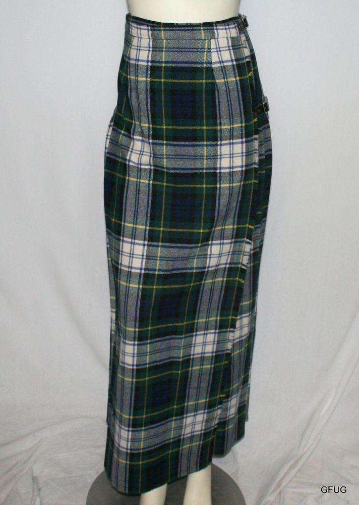 glen avon scotland 00 green plaid tartan wrap kilt skirt