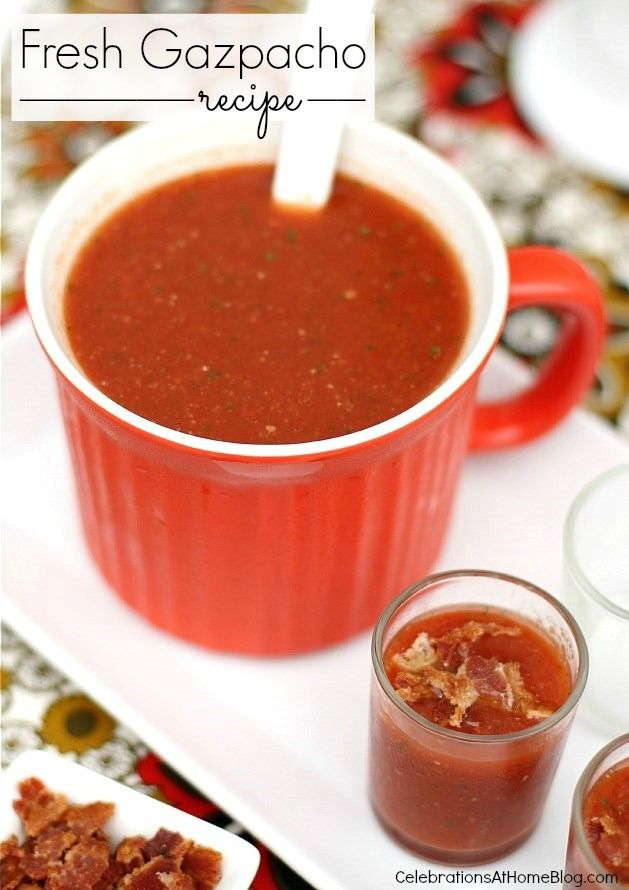 fresh gazpacho recipe #entertaining #summer #cwcolor #red #sponsored