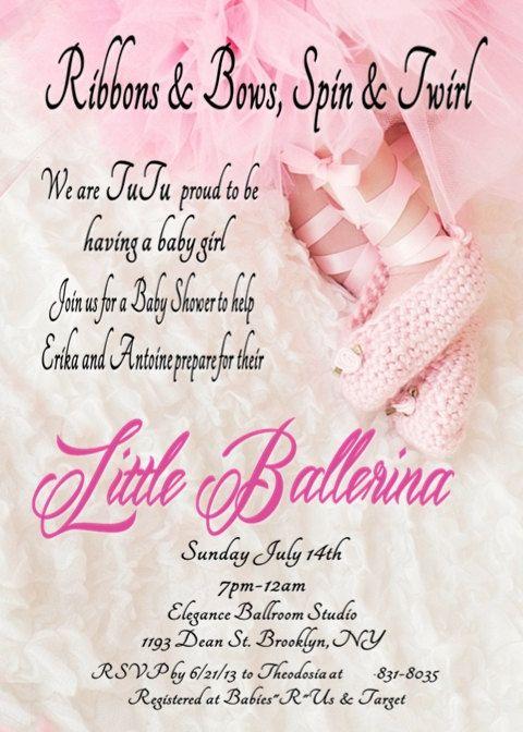 ballerina in a tutu baby shower invitation for girl