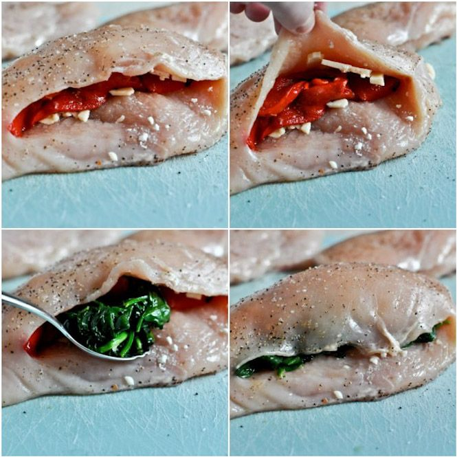 Stuffed Chicken Breasts with Spinach, Roasted Red Pepper, Parmesan ...