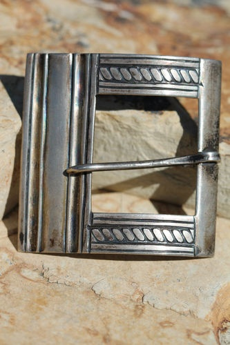 Rare vintage mexican 980 fine silver belt buckle by Artemio Navarrete