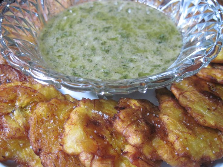 Tostones with garlic dipping sauce, recipe available at http://www ...